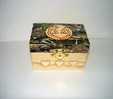 CAMOUFLAGE Wedding Party Camo Ring Bearer Pillow Box Wood Deer Hunting Redneck