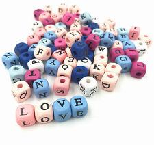 100X Mischfarbe Random Alphabet/Letter Cube zum Fädeln Holzperlen 10x10mm