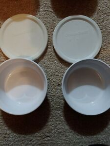 2- Corning Ware French White 16 Round Casserole Bowls 500 ml w/ Lids