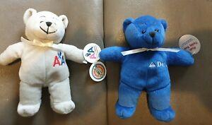 "2 x Daron Travel Teddy Bear Plush Beanie 7"" Blue Delta Airlines & Grey American"