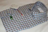 Lorenzo Uomo 100% Cotton Blue Check Wrinkle Free Dress Shirt Size 17.5 34/35