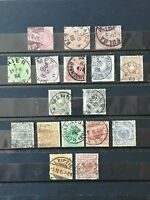 GERMANY 1875-1889: 17 USED STAMPS,  3 SERIES WITH SOME HIGH VALUES (2 M)