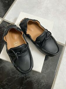 NIB 100% AUTH Gucci Toddler Black Leather Moccassins W/web detail 371804