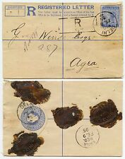 INDIA QV REGISTERED STATIONERY 1895 R HANDSTAMP DELHI to AGRA + SEALS