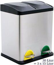 30 Liter Treteimer Mülltrennung Mülleimer Abfalleimer