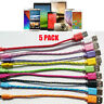 5 Pack Short Braided Micro USB Data Sync Charging Cable Cord For Android Phones