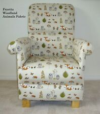 Fryetts Woodland Animals Fabric Adult Chair Fox Owl Nursery Armchair Beige Taupe
