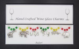 Safari Silver Set of 6 Wine Glass Charms Charms Handmade Just for You