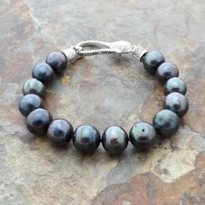 Black Keshi Pearl Bracelet CZ Clasp