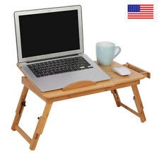 Wooden Bamboo Laptop Desk Adjustable Bed Breakfast Serving Bed Tray with Drawer