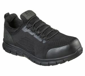 Skechers Men's Slip Resistant Synergy Alloy Toe Work Shoes 200013 Black