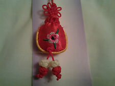 hand-made red money bag Chinese knot, charm, pendant + embroidery flower
