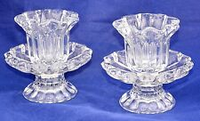 PartyLite Chantilly Glass Votive Candle Holders Pair Pillar or Tapered New