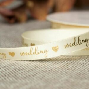 Gold Wedding Ribbon | Favours Gift Wrapping Grosgrain Craft 20m