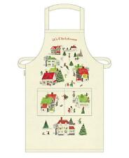 Cavallini - 100% Natural Cotton Apron - 48x80cms - Vintage Christmas Village