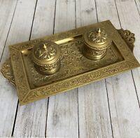 Inkwell Double Brass Antique Art Nouveau