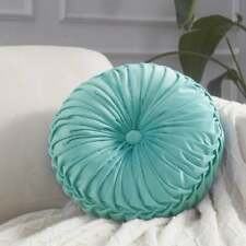 "Vintage Round 14.5"" Pintuck Throw Pillows Light Teal"