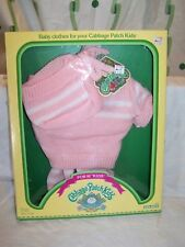 Vintage 1984 Cabbage Patch Kids Clothes #3921 New Pink & White Knit Sweater Hat