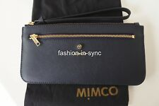 MIMCO Micra Currency Pouch Wristlet Ink Blue Leather New w/ Dustbag RRP $129