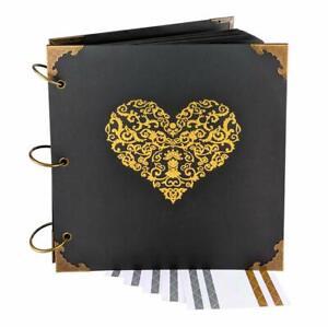 Love Heart Gold Engraved Wedding Guest Book, Scrapbook, Photo Album