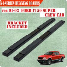 "Fit 01-03 FORD F150 Super Crew Cab 4"" Black Nerf Bar Running Board Side Step H"