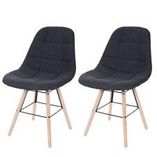 2x Chaise de salle à manger HWC-A60 II, rétro ~ tissu, gris foncé