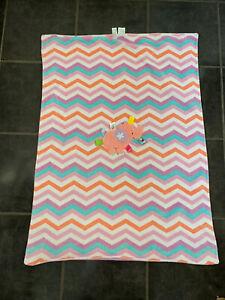 Handmade Comfort Fleece Ribbon//Tag Blanket Pink /& White Star Dimple Fleece