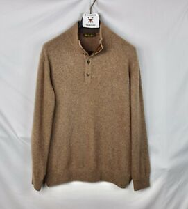 LORO PIANA 1/2 Zip 100% Cashmere Brown Suede Collar Sweater Size 56 XL XXL