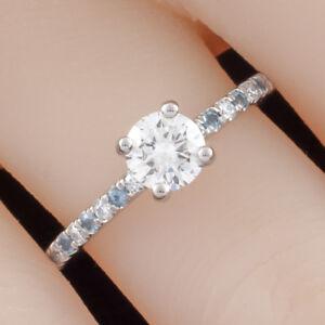 0.73 carat Round Diamond Solitaire Palladium Ring w/ Aquamarine Accents GIA