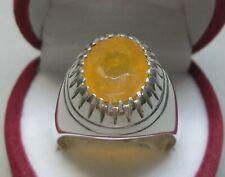 Natural 5.9 Carat Ceylon Yellow Sapphire Sterling Silver 925 Pukhraj Mens Ring