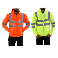Mens Hi Viz Vis Zipper Safety Work Reflective Jumper Fleece Hoodie Jacket Top UK