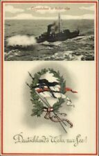 German Navy Battle Ship Nice Flag Emblem WWI c1915 Postcard TORPEDOBOOT #1