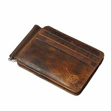 Badiya Mens Vintage Genuine Leather Bifold Money Clip Wallet Slim Card Holders