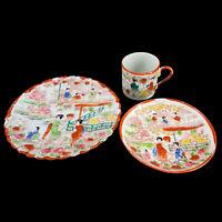 Lot 3 Pieces Antique Japanese Geisha Girls Eggshell Porcelain Plate Cup Saucer