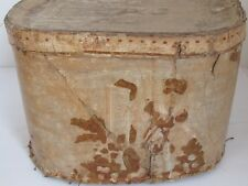 Antique Wallpaper Hat Band Box 19th c. 1840's
