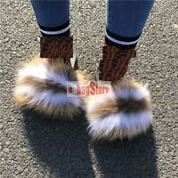 Women's Fluffy Real Fox Fur Indoor Outdoor Sliders Slides Slippers Sandals Shoes