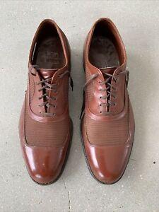 Vintage 40s Wright Arch Preserver Spectator Ventilated Shoe 10.5C Cognac Brown