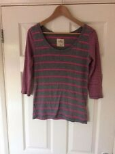 HOLLISTER TOP, PINK & GREY STRIPED TOP 3/4 LENGTH SLEEVES SIZE XS