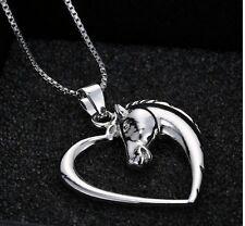Pferde Pferd im Herz Kette Halskette Farbe Silber Neu 1507