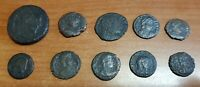Lot of 10 Actual Cleaned Roman coins from Late Roman Empire between 300-400 AD B