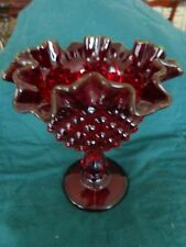 FENTON RED RUBY HOBNAIL GLASS COMPOTE/CANDY DISH