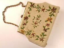 Vintage Needlepoint Handbag Metal Frame With Chain