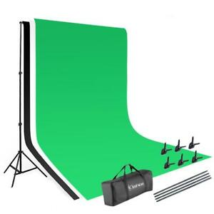 Photography 10ft Backdrop Stand Kit 1.6*3m Green Screen Black White with Clamps