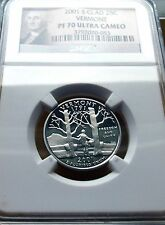 2001-S NGC PF70 ULTRA CAMEO CLAD VERMONT STATE QUARTER .25C