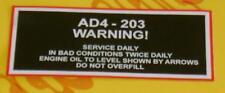 Massey Ferguson 165 & 65 tractor AD4-203 WARNING Decal