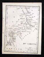 1833 Perrot Tardieu Map Haute Garonne  Toulouse  France - Miniature Antique Map