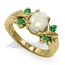 Opal and Emerald Ring 14k Solid Yellow Gold Sizes 4 to 9.5 #R1520