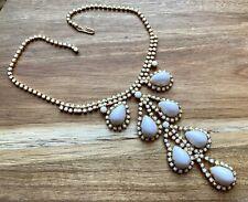 Vintage Milk Glass Dangle Rhinestone Necklace