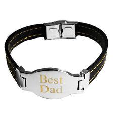 932c2cc8673e Mejor Papá Grabado Placa Para Hombre Cuero Pulsera