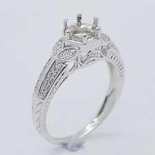 7.0mm Round Cut Solid 14kt 585 White Gold Natural DIamond Semi Mount Ring